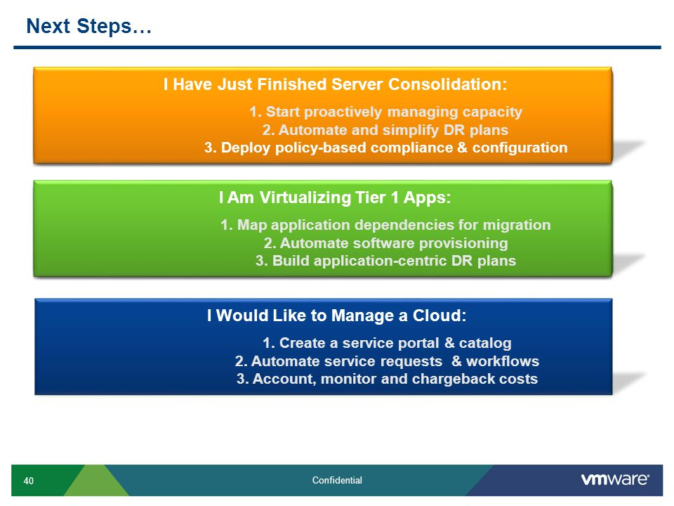 40 Confidential Next Steps… I Would Like to Manage a Cloud: 1. Create a service portal & catalog 2. Automate service requests & workflows 3. Account,