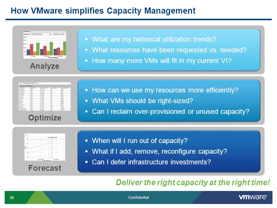 56 Confidential How VMware simplifies Capacity Management Deliver the right capacity at the right time!  When will I run out of capacity?  What if I