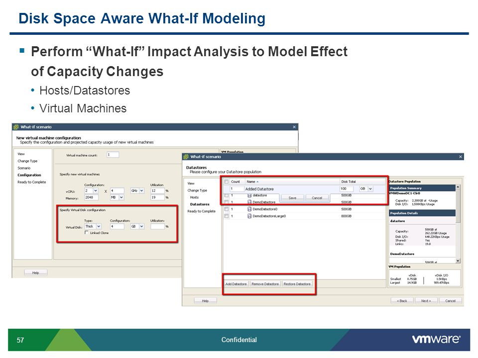 """57 Confidential Disk Space Aware What-If Modeling  Perform """"What-If"""" Impact Analysis to Model Effect of Capacity Changes Hosts/Datastores Virtual Mac"""