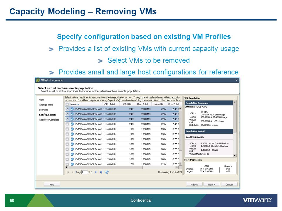 60 Confidential Capacity Modeling – Removing VMs Specify configuration based on existing VM Profiles Provides a list of existing VMs with current capa