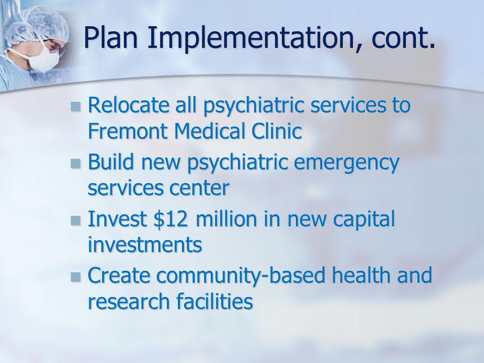 Plan Implementation, cont.