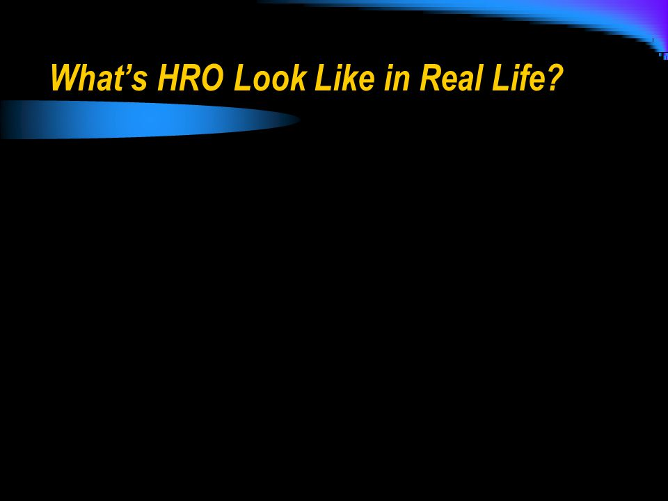 What's HRO Look Like in Real Life