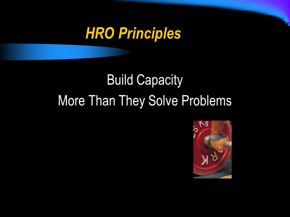 HRO Principles Build Capacity More Than They Solve Problems