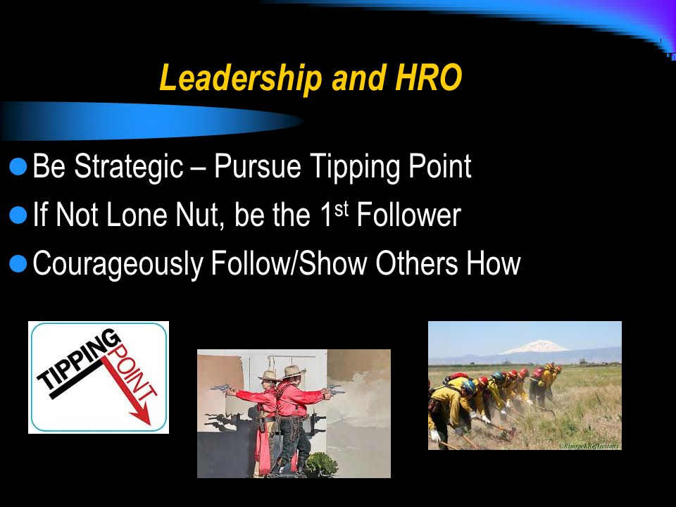 Leadership and HRO Be Strategic – Pursue Tipping Point If Not Lone Nut, be the 1 st Follower Courageously Follow/Show Others How