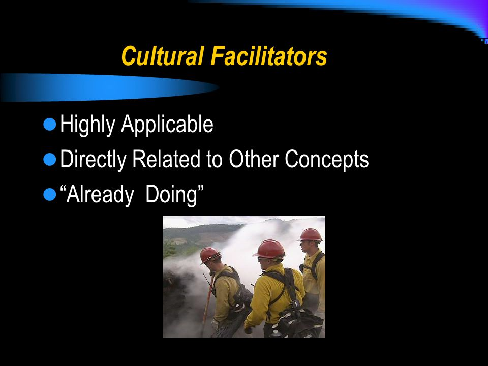 Cultural Facilitators Highly Applicable Directly Related to Other Concepts Already Doing