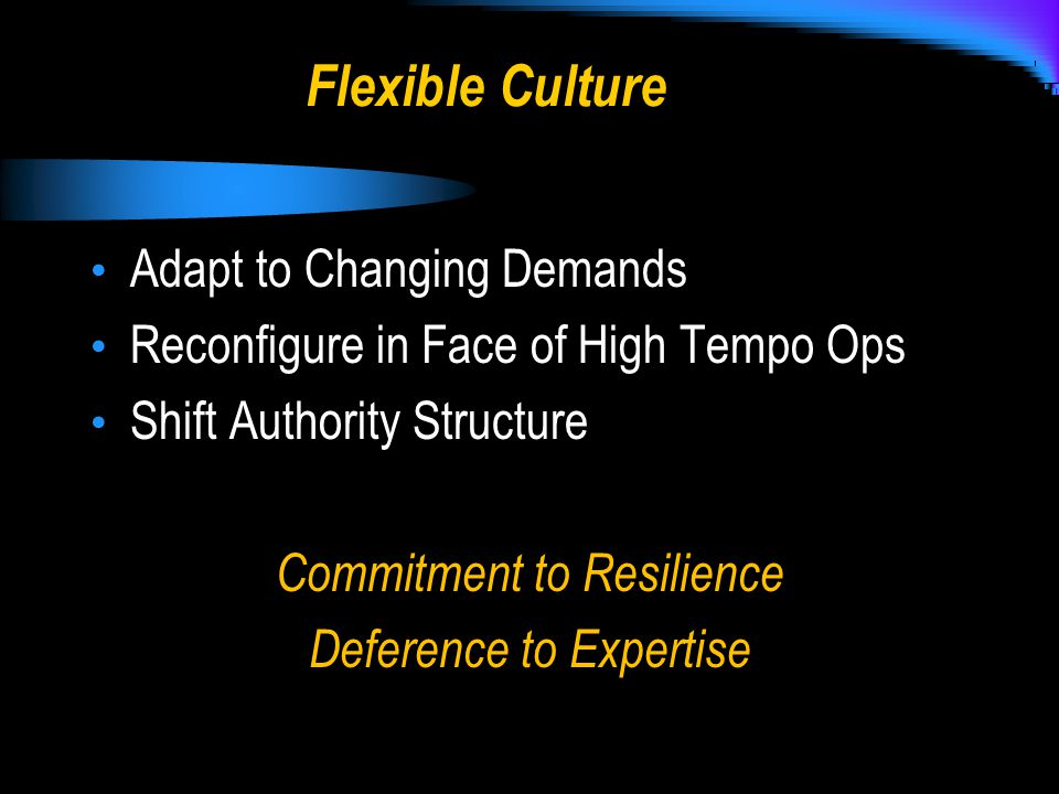 Flexible Culture Adapt to Changing Demands Reconfigure in Face of High Tempo Ops Shift Authority Structure Commitment to Resilience Deference to Expertise