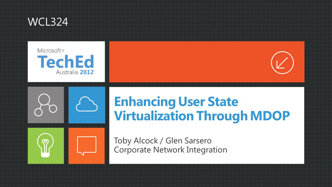 Enhancing User State Virtualization Through MDOP Toby Alcock / Glen Sarsero Corporate Network Integration WCL324