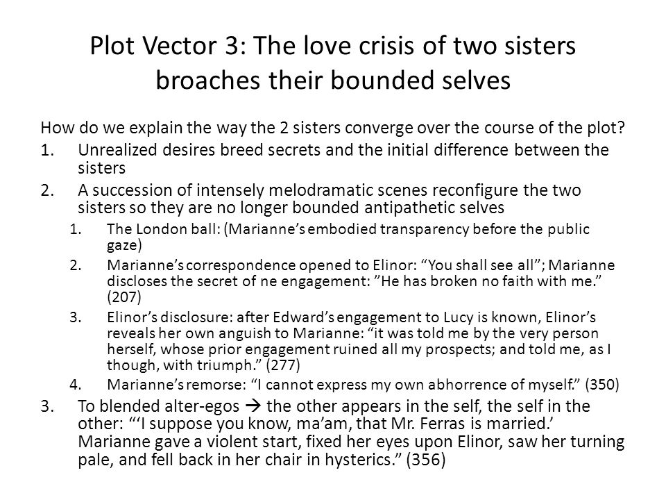 Plot Vector 3: The love crisis of two sisters broaches their bounded selves How do we explain the way the 2 sisters converge over the course of the plot.