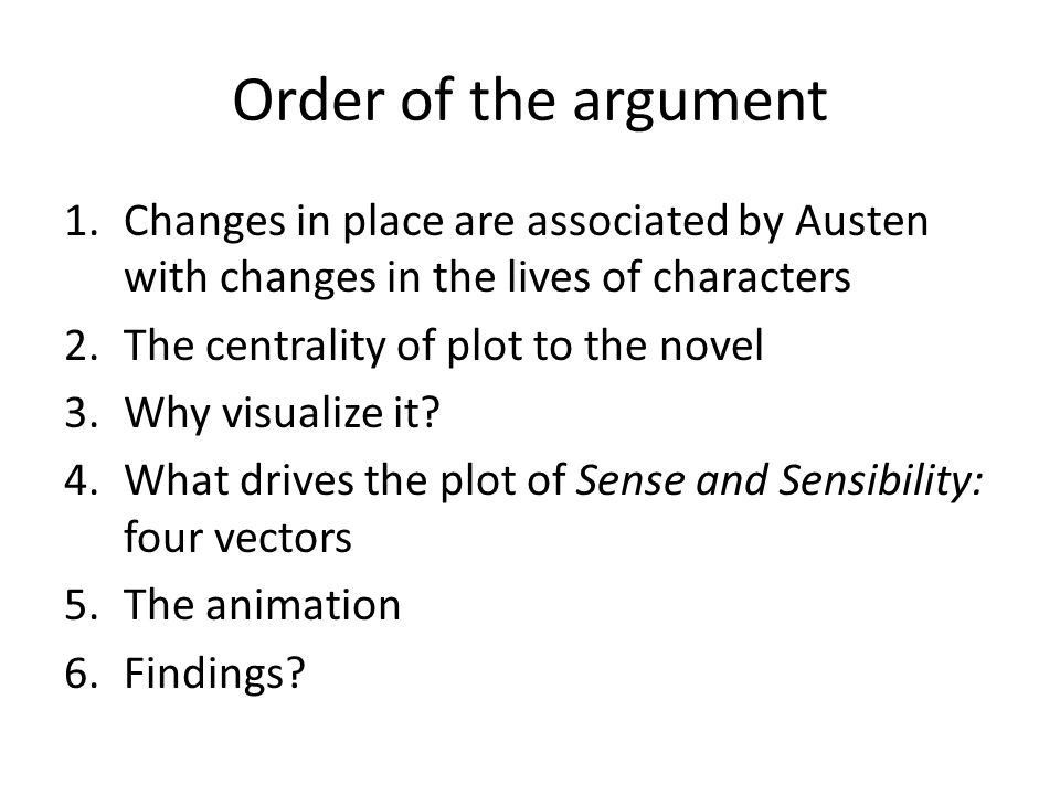 Order of the argument 1.Changes in place are associated by Austen with changes in the lives of characters 2.The centrality of plot to the novel 3.Why visualize it.
