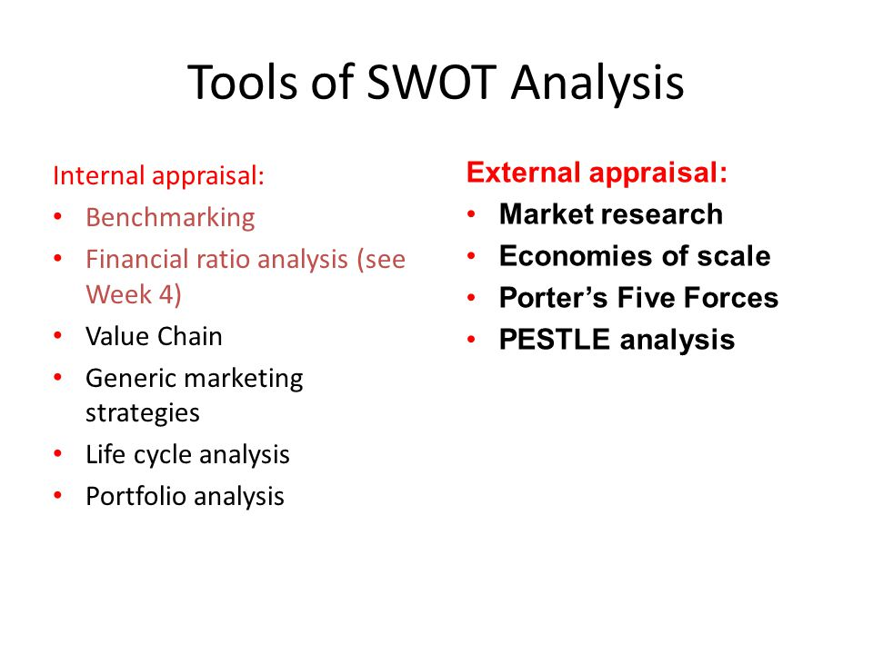 Tools of SWOT Analysis Internal appraisal: Benchmarking Financial ratio analysis (see Week 4) Value Chain Generic marketing strategies Life cycle anal