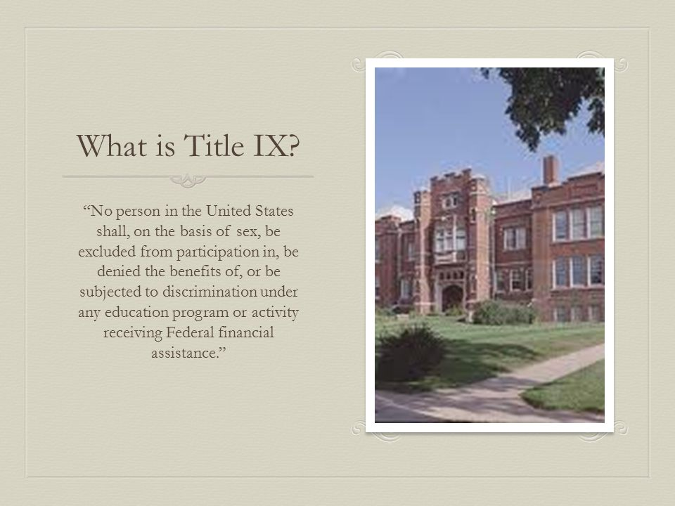What does Title IX Cover.