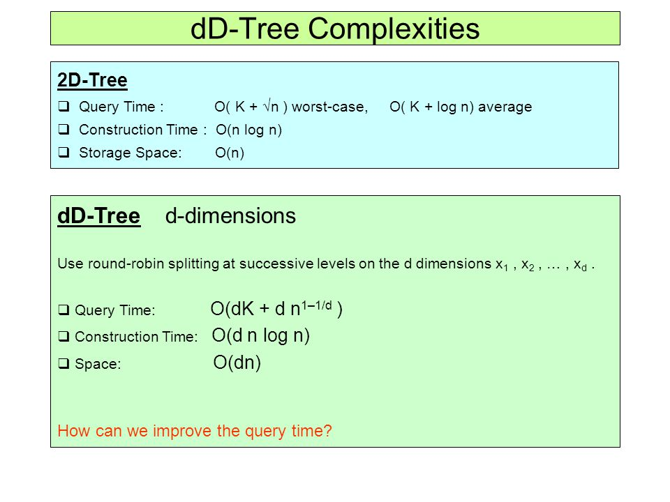 dD-Tree Complexities 2D-Tree  Query Time : O( K +  n ) worst-case, O( K + log n) average  Construction Time : O(n log n)  Storage Space: O(n) dD-Tree d-dimensions Use round-robin splitting at successive levels on the d dimensions x 1, x 2, …, x d.