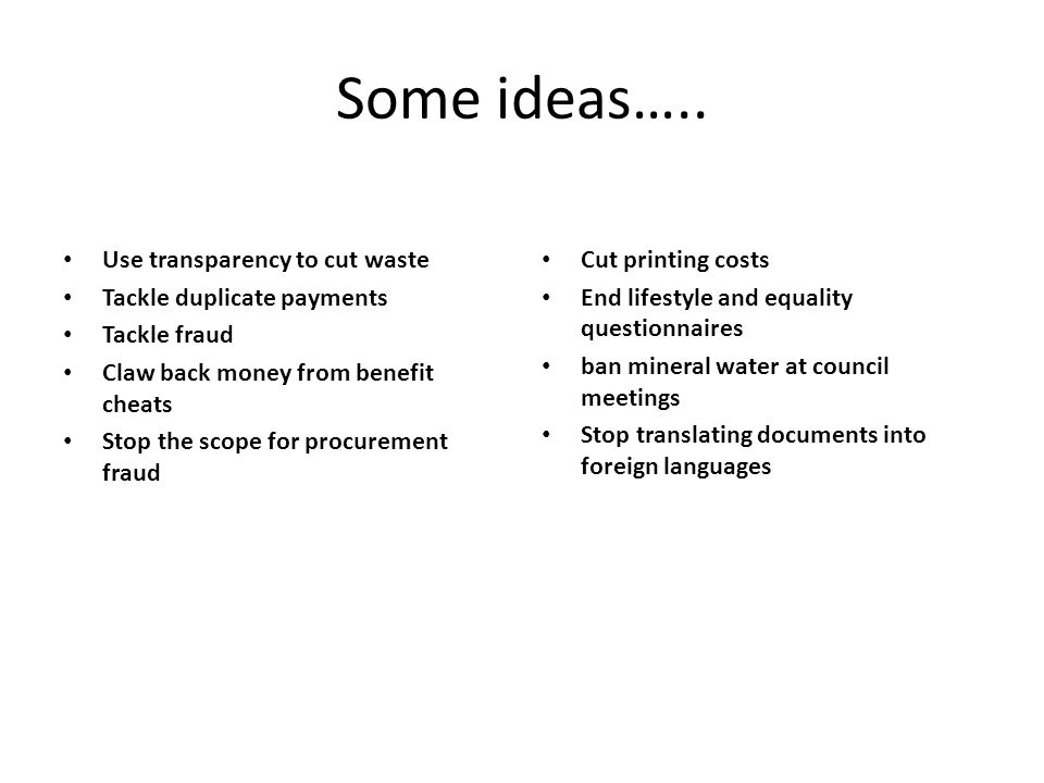 Some ideas…..