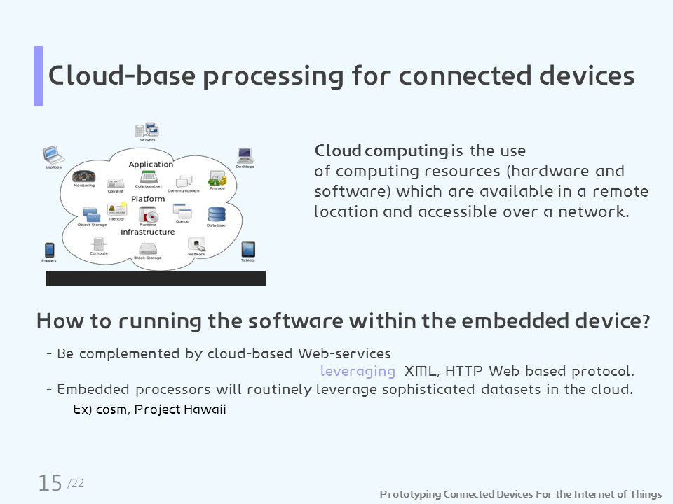 Prototyping Connected Devices For the Internet of Things Cloud-base processing for connected devices Cloud computing is the use of computing resources (hardware and software) which are available in a remote location and accessible over a network.