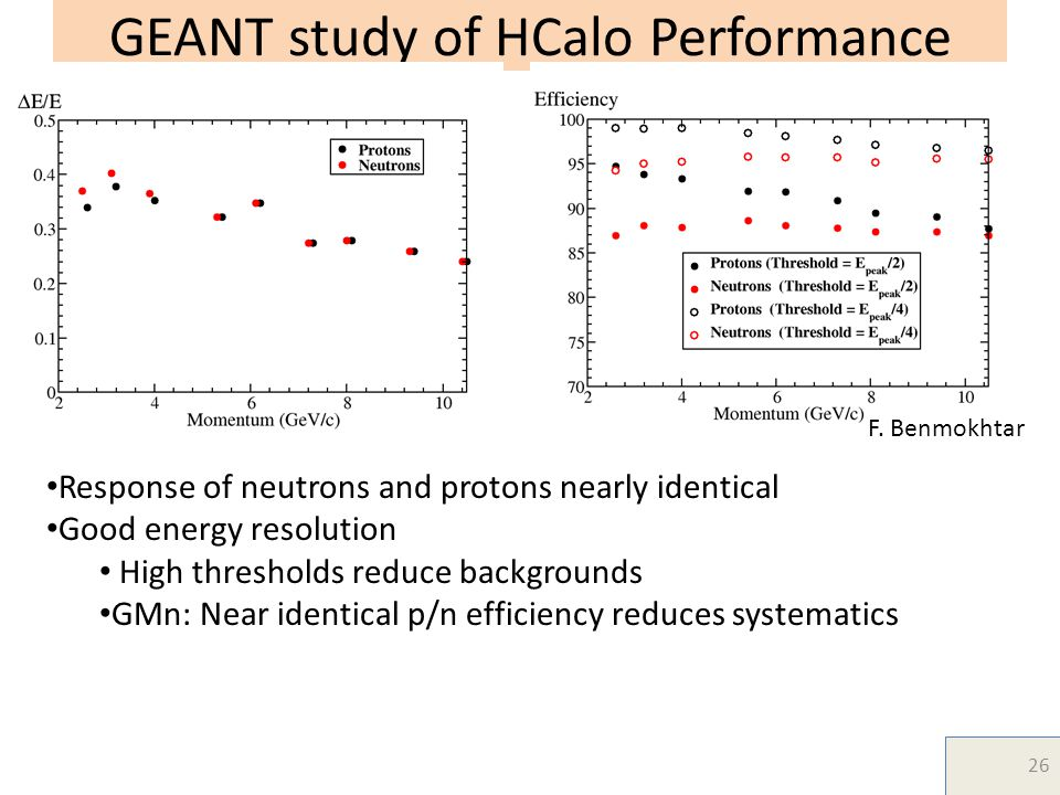 GEANT study of HCalo Performance Response of neutrons and protons nearly identical Good energy resolution High thresholds reduce backgrounds GMn: Near identical p/n efficiency reduces systematics F.