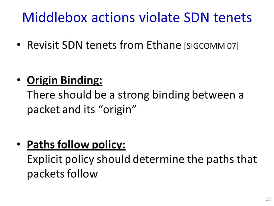 Middlebox actions violate SDN tenets Revisit SDN tenets from Ethane [SIGCOMM 07] Origin Binding: There should be a strong binding between a packet and its origin Paths follow policy: Explicit policy should determine the paths that packets follow 20