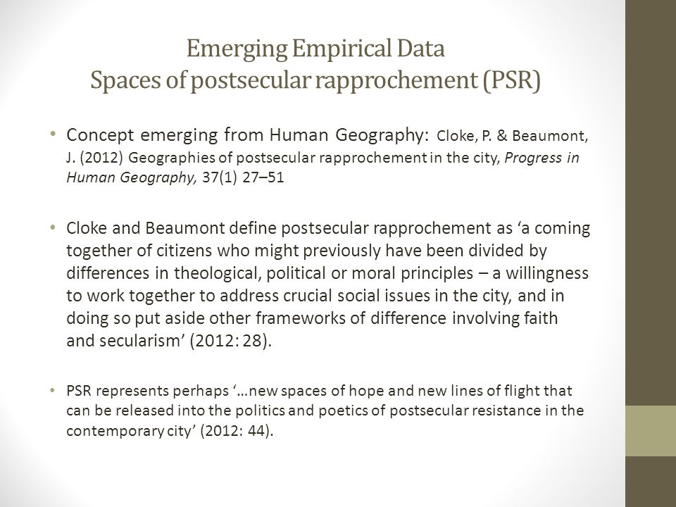 Emerging Empirical Data Spaces of postsecular rapprochement (PSR) Concept emerging from Human Geography: Cloke, P. & Beaumont, J. (2012) Geographies o