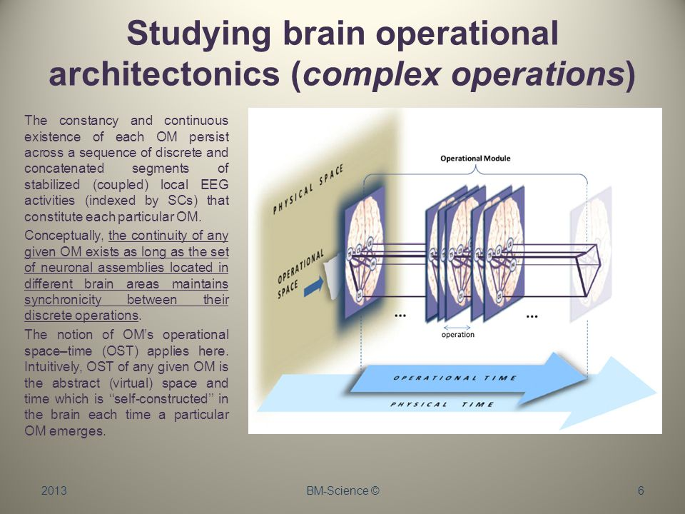 Studying brain operational architectonics (complex operations) 2013BM-Science ©6 The constancy and continuous existence of each OM persist across a sequence of discrete and concatenated segments of stabilized (coupled) local EEG activities (indexed by SCs) that constitute each particular OM.