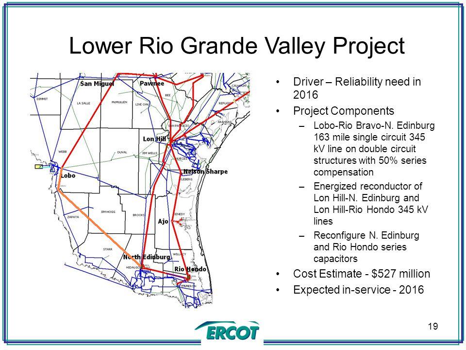 Lower Rio Grande Valley Project Driver – Reliability need in 2016 Project Components –Lobo-Rio Bravo-N.