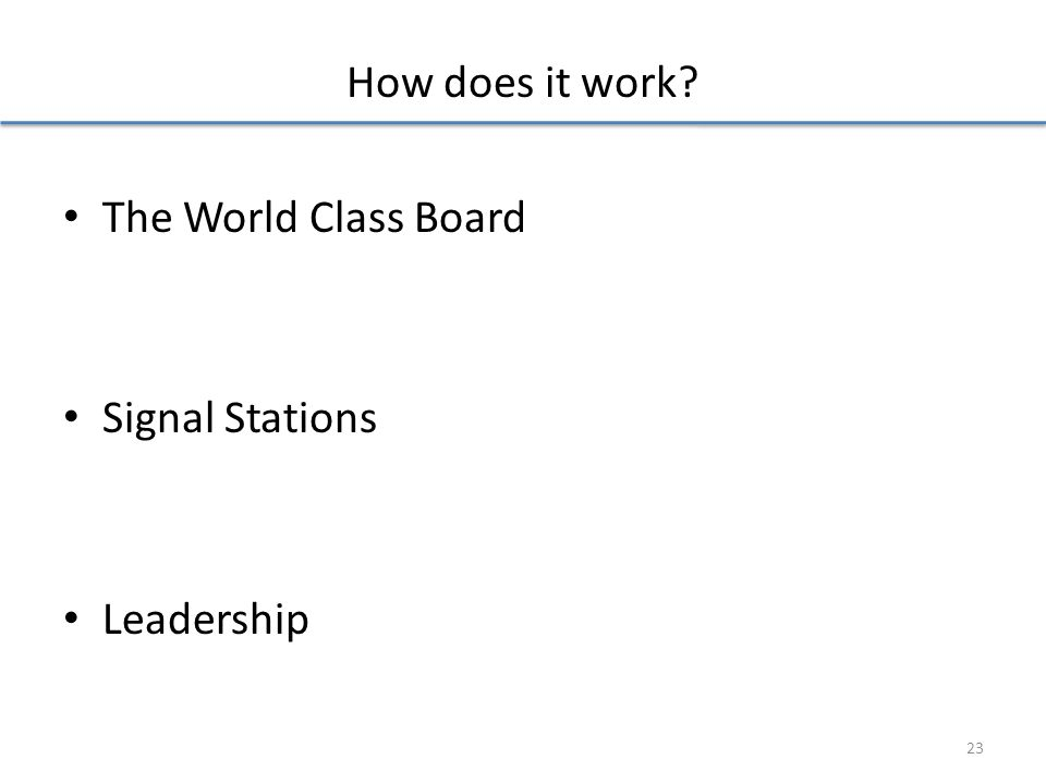 How does it work The World Class Board Signal Stations Leadership 23