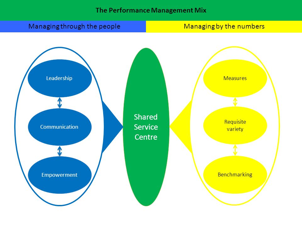 Shared Service Centre Measures Managing through the peopleManaging by the numbers Benchmarking Requisite variety Leadership Communication Empowerment The Performance Management Mix