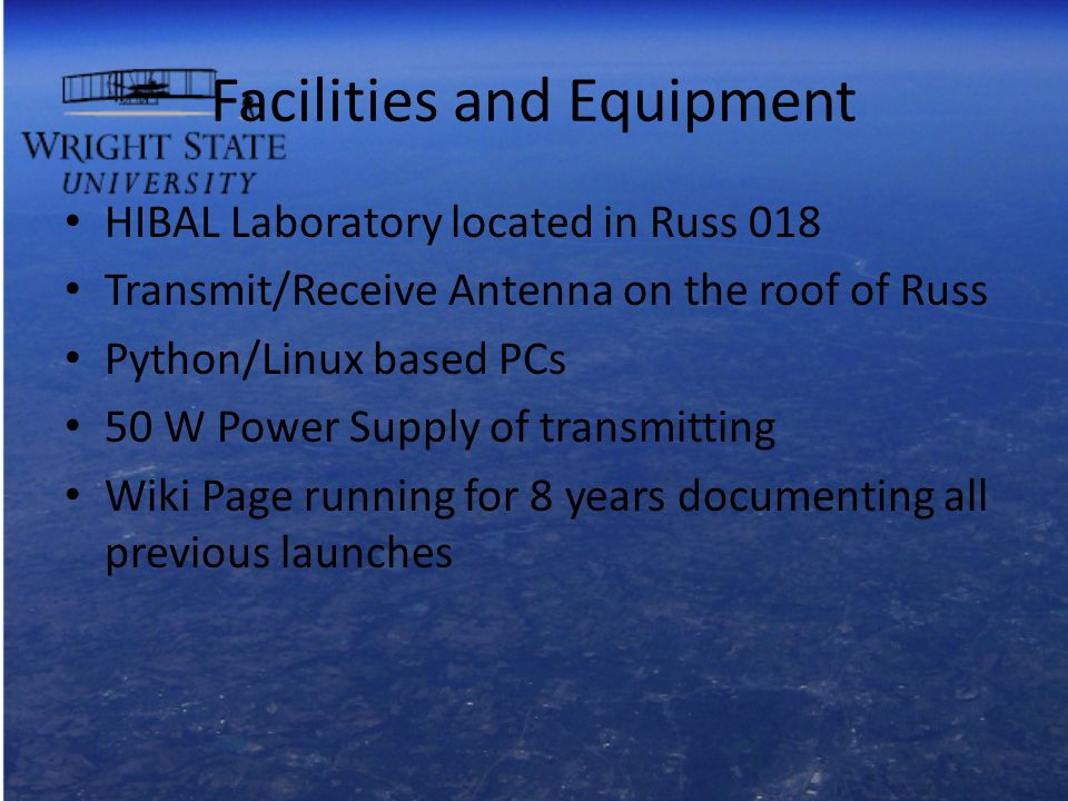 Facilities and Equipment HIBAL Laboratory located in Russ 018 Transmit/Receive Antenna on the roof of Russ Python/Linux based PCs 50 W Power Supply of transmitting Wiki Page running for 8 years documenting all previous launches
