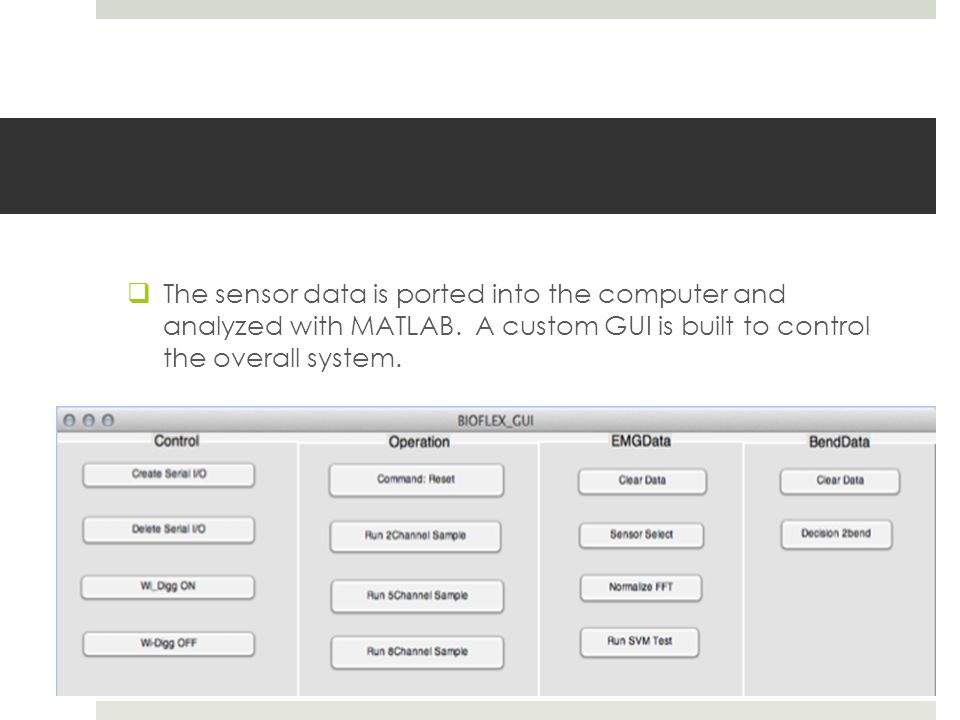  The sensor data is ported into the computer and analyzed with MATLAB.