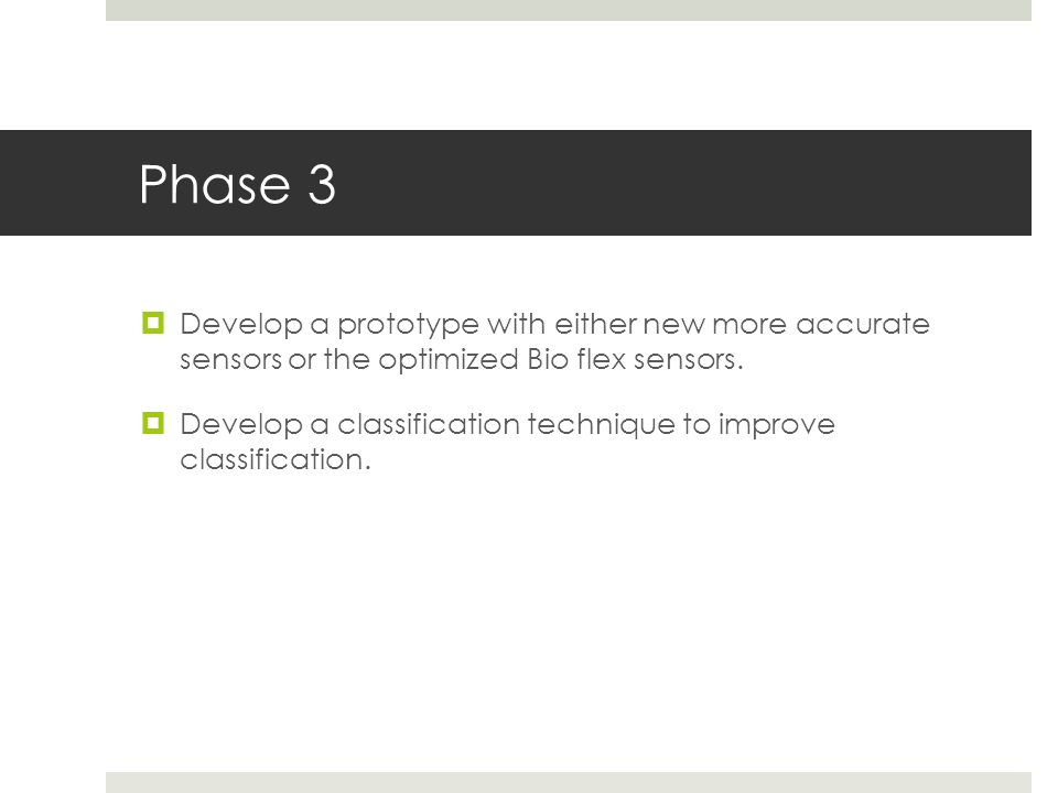 Phase 3  Develop a prototype with either new more accurate sensors or the optimized Bio flex sensors.