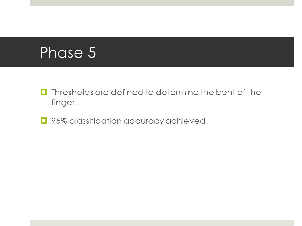 Phase 5  Thresholds are defined to determine the bent of the finger.