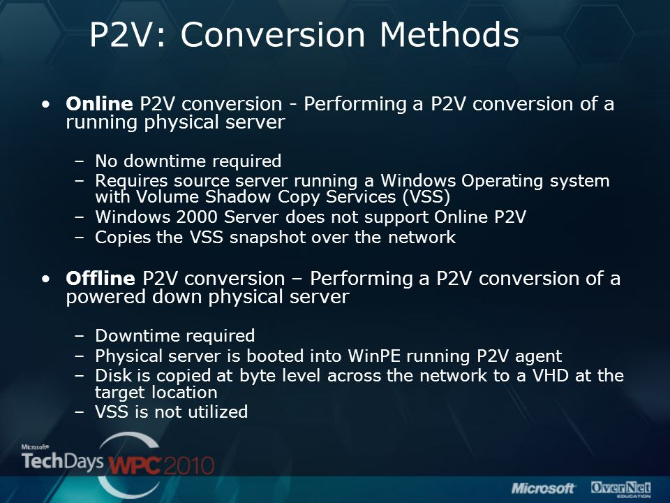 P2V: Conversion Methods Online P2V conversion - Performing a P2V conversion of a running physical server –No downtime required –Requires source server