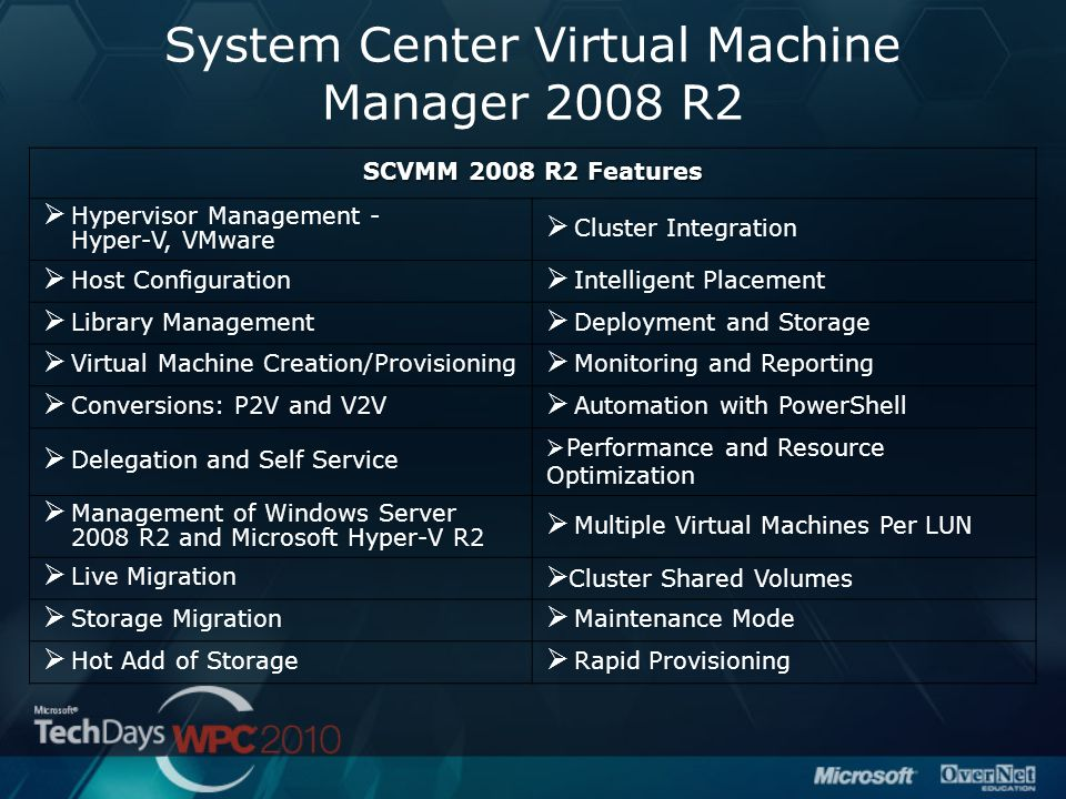 System Center Virtual Machine Manager 2008 R2 SCVMM 2008 R2 Features  Hypervisor Management - Hyper-V, VMware  Cluster Integration  Host Configurat