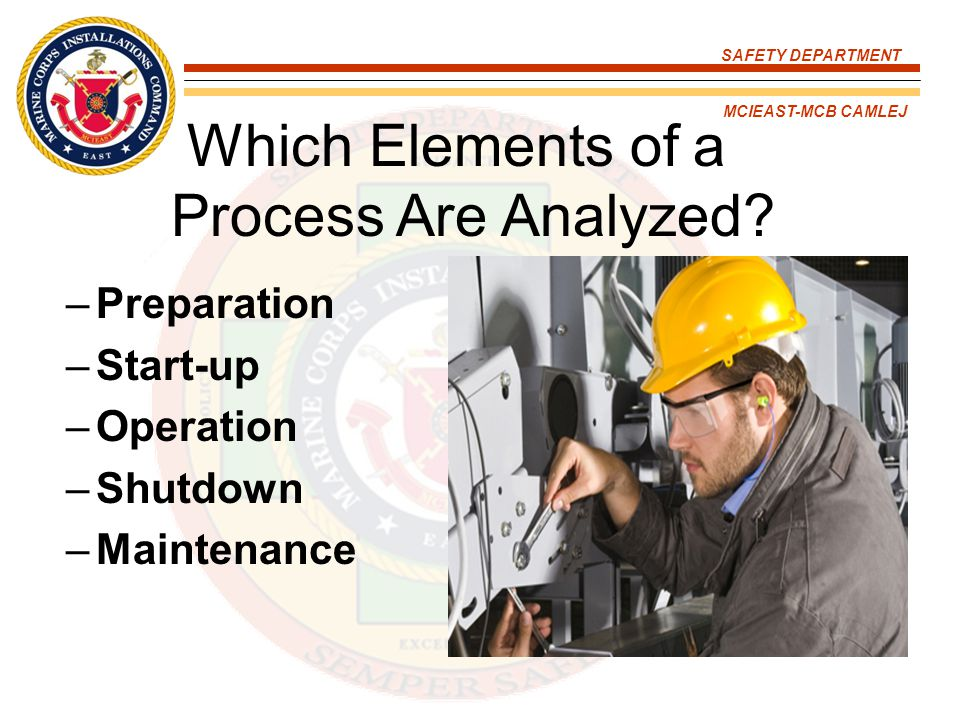 SAFETY DEPARTMENT MCIEAST-MCB CAMLEJ Which Elements of a Process Are Analyzed? –Preparation –Start-up –Operation –Shutdown –Maintenance