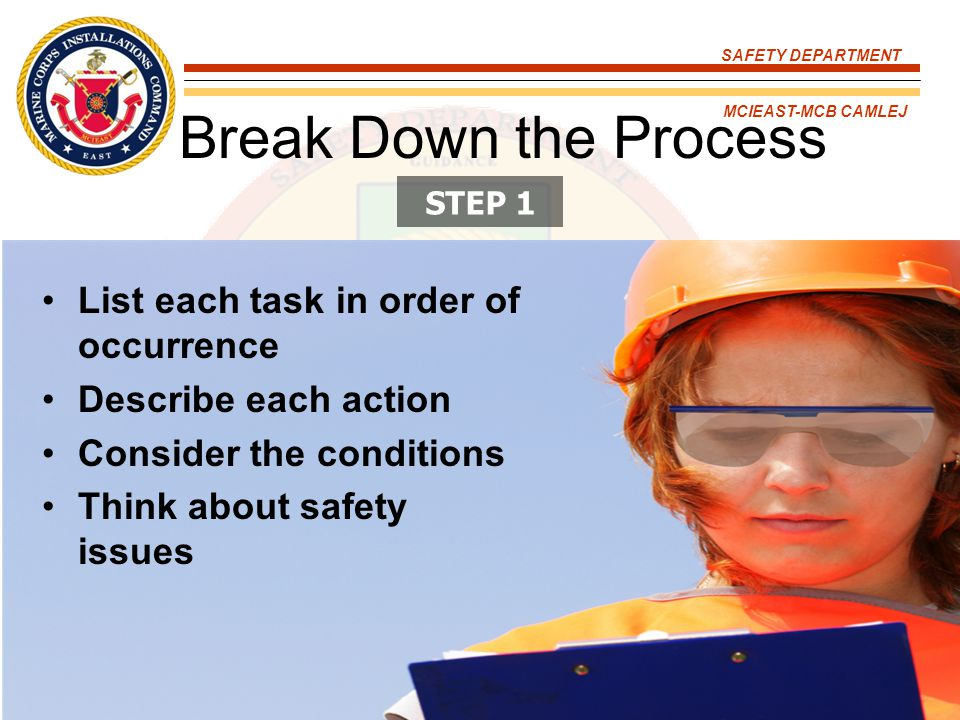 SAFETY DEPARTMENT MCIEAST-MCB CAMLEJ Break Down the Process List each task in order of occurrence Describe each action Consider the conditions Think a