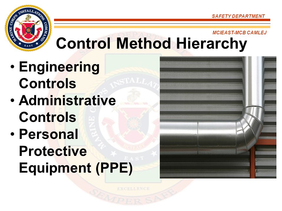 SAFETY DEPARTMENT MCIEAST-MCB CAMLEJ Control Method Hierarchy Engineering Controls Administrative Controls Personal Protective Equipment (PPE)