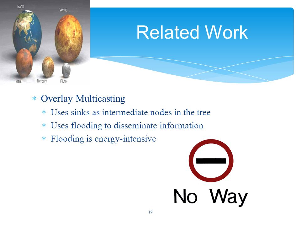  Overlay Multicasting  Uses sinks as intermediate nodes in the tree  Uses flooding to disseminate information  Flooding is energy-intensive 19 Related Work