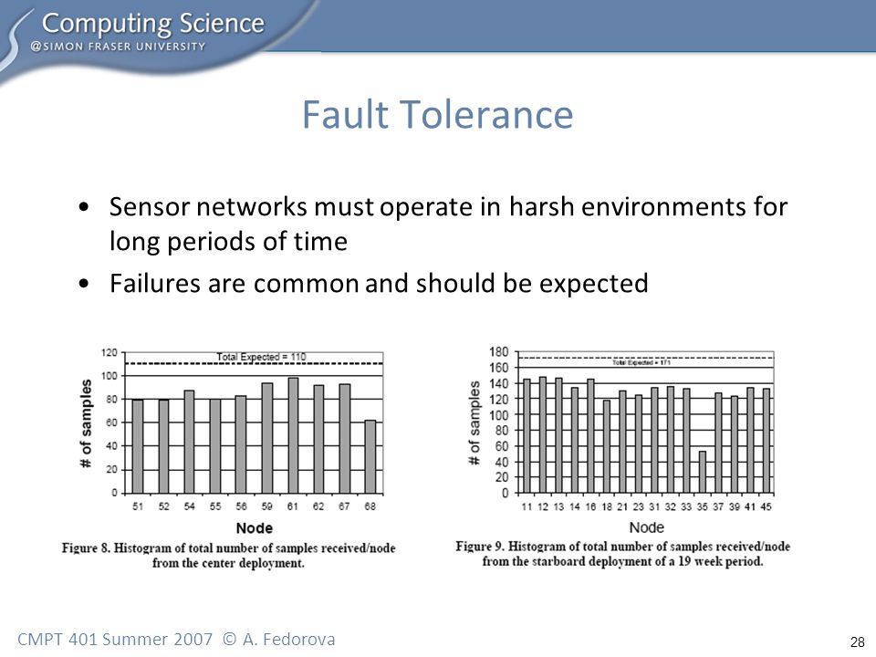 28 CMPT 401 Summer 2007 © A. Fedorova Fault Tolerance Sensor networks must operate in harsh environments for long periods of time Failures are common