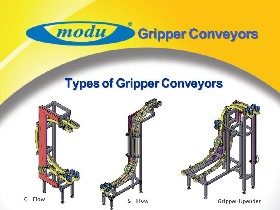 GripperConveyors Gripper Conveyors C - Flow S - Flow Gripper Upender Types of Gripper Conveyors