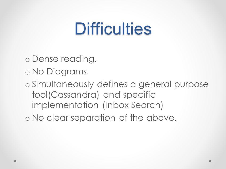 Difficulties o Dense reading. o No Diagrams.