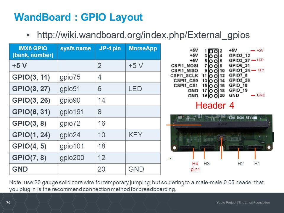 70 Yocto Project | The Linux Foundation WandBoard : GPIO Layout iMX6 GPIO (bank, number) sysfs nameJP-4 pinMorseApp +5 V2 GPIO(3, 11)gpio754 GPIO(3, 2