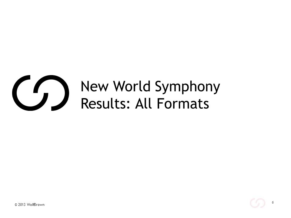 © 2013 WolfBrown Demographics by Format – All Years The table at left describes general demographic profiles of New World Symphony respondents by format (results are aggregated across all seasons).