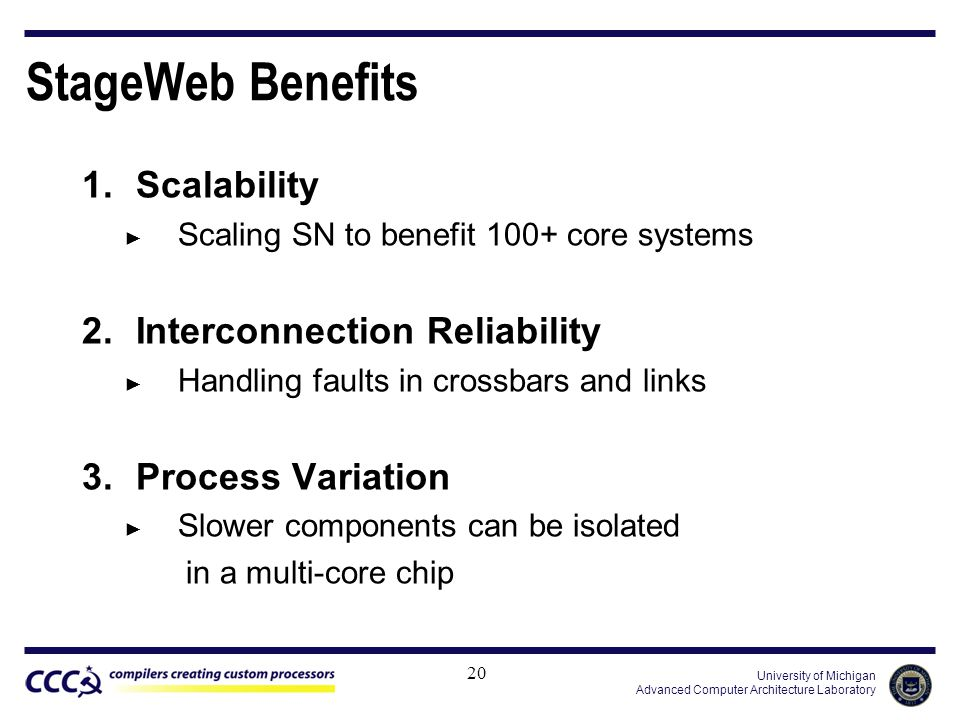 University of Michigan Advanced Computer Architecture Laboratory StageWeb Benefits 1.Scalability ► Scaling SN to benefit 100+ core systems 2.Interconnection Reliability ► Handling faults in crossbars and links 3.Process Variation ► Slower components can be isolated in a multi-core chip 20
