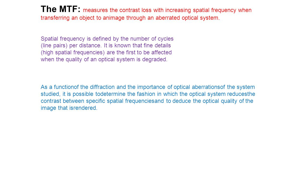 The MTF: measures the contrast loss with increasing spatial frequency when transferring an object to animage through an aberrated optical system. Spat