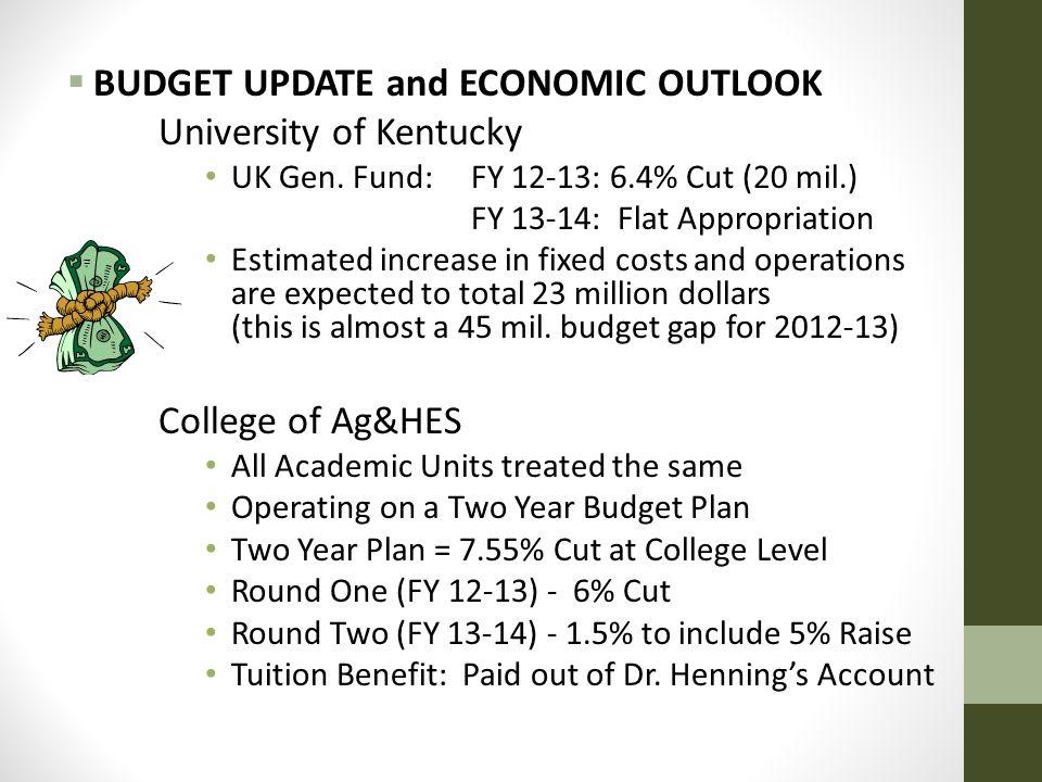  BUDGET UPDATE and ECONOMIC OUTLOOK University of Kentucky UK Gen.