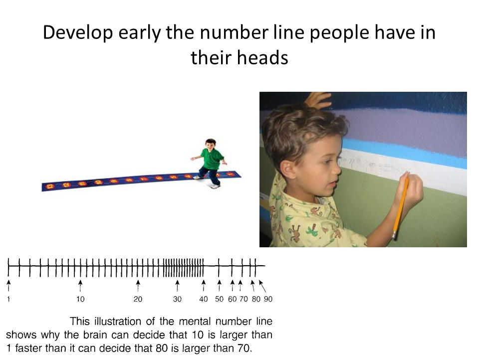 Develop early the number line people have in their heads