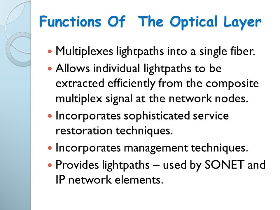 Multiplexes lightpaths into a single fiber. Allows individual lightpaths to be extracted efficiently from the composite multiplex signal at the networ