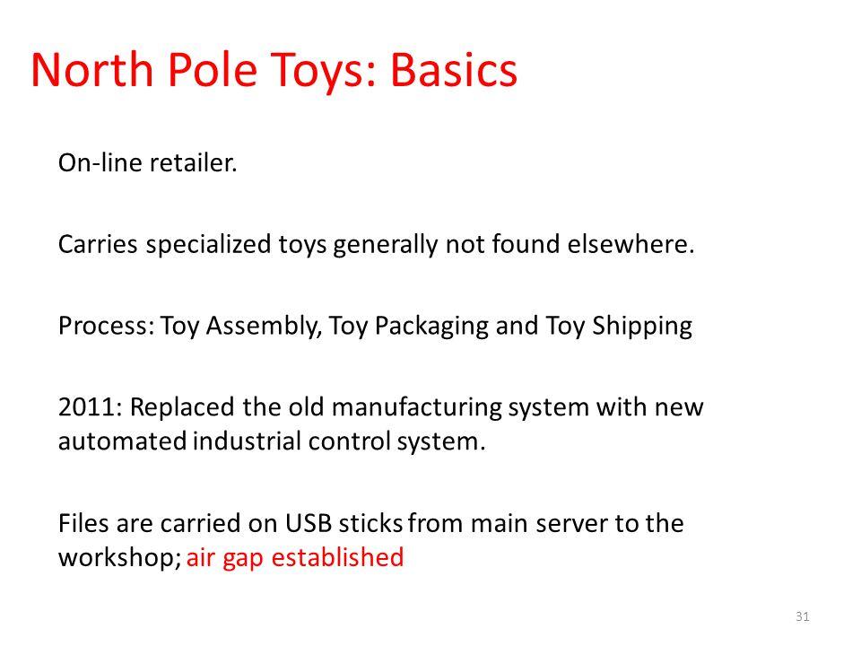 North Pole Toys: Basics 31 On-line retailer.