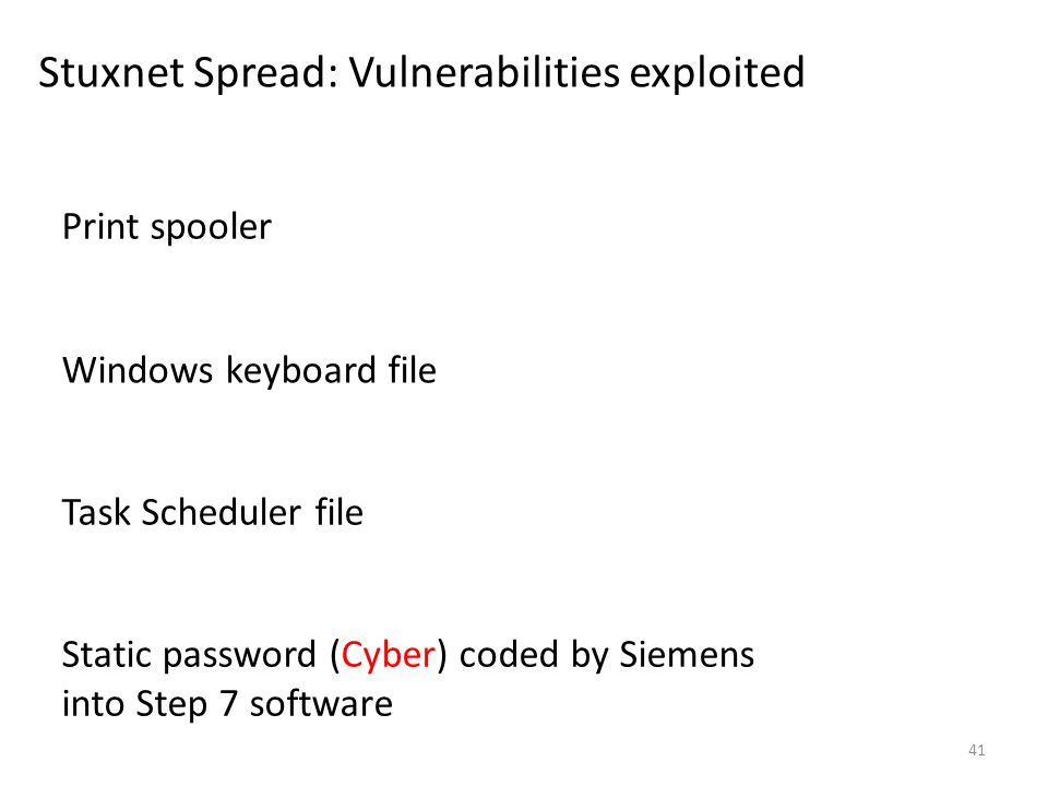 Stuxnet Spread: Vulnerabilities exploited 41 Print spooler Windows keyboard file Task Scheduler file Static password (Cyber) coded by Siemens into Step 7 software