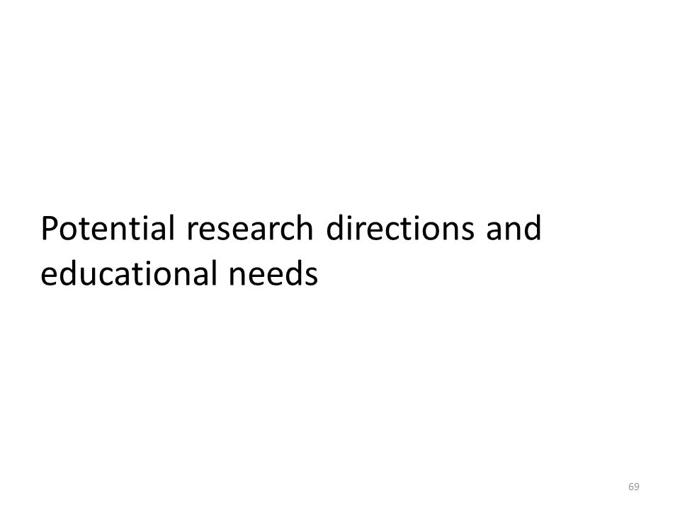 Potential research directions and educational needs 69