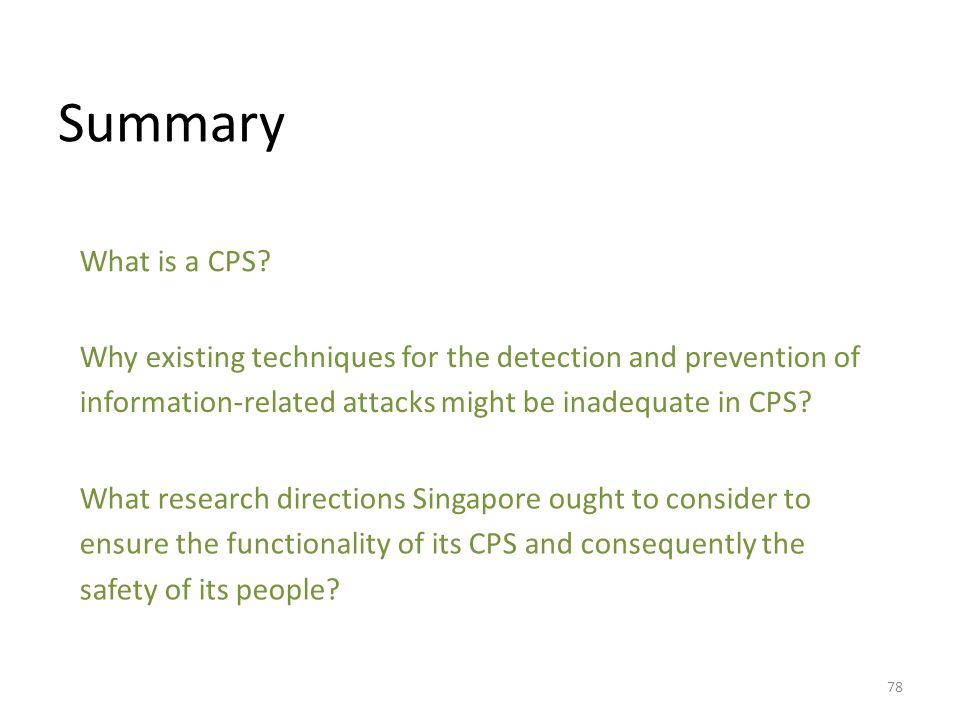 Summary What is a CPS.