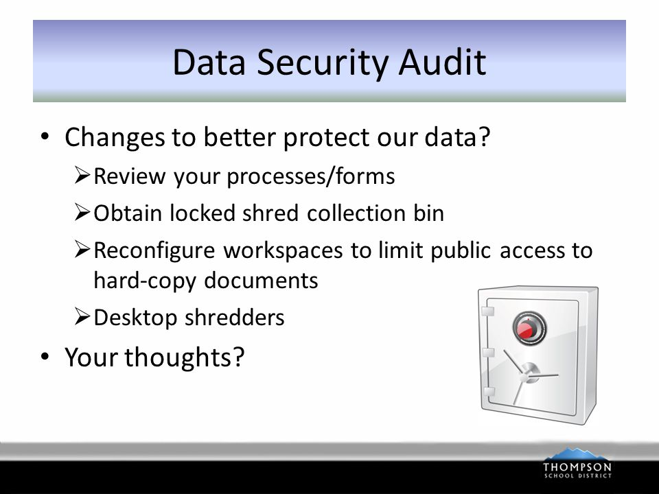 Data Security Audit Changes to better protect our data.